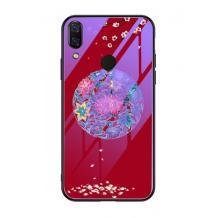 Луксозен стъклен твърд гръб за Huawei P Smart Z / Y9 Prime 2019 - червен / цветен кръг
