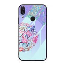 Луксозен стъклен твърд гръб за Huawei P Smart Z / Y9 Prime 2019 - цветя / пеперуда