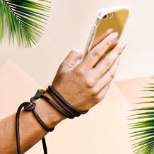 Удароустойчив силиконов калъф / гръб / TPU с връзка за Apple iPhone 5 / iPhone 5S / iPhone SE - прозрачен / черна връзка