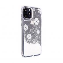 Луксозен твърд гръб 3D Winter Water Case за Samsung Galaxy Note 10 N970 - прозрачен / течен гръб с бял брокат / Snowflakes