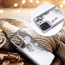 Луксозен твърд гръб 3D Winter Water Case за Samsung Galaxy A20e - прозрачен / течен гръб с бял брокат / Snowflakes