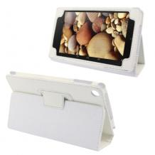 Кожен калъф за таблет 7'' Lenovo IdeaTab A3000 със стойка - бял