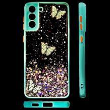 Луксозен твърд гръб със силиконов кант и брокат за Samsung Galaxy S21 Plus - прозрачен / пеперуди / мента