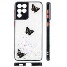 Луксозен твърд гръб със силиконов кант и брокат за Samsung Galaxy S21 Ultra - прозрачен / пеперуди / черен кант