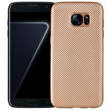 Силиконов калъф / гръб / TPU за Samsung Galaxy S7 G930 - златист / Carbon