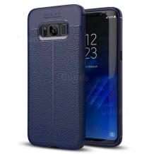 Луксозен силиконов калъф / гръб / TPU за Samsung Galaxy S8 Plus G9655 - тъмно син / имитиращ кожа