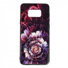 Луксозен силиконов калъф / гръб / TPU с Popsocket за Samsung Galaxy S8 Plus G955 - червен / цвете / абстрактен