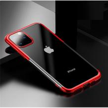 Луксозен силиконов калъф / гръб / TPU Baseus Shining Case за Apple iPhone 11 6.1'' - прозрачен / червен кант