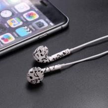 Стерео слушалки 3.5mm за смартфон - бели / черни ноти