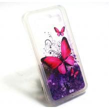Луксозен твърд гръб 3D за Samsung Galaxy S6 G920 - прозрачен / пеперуди / лилав брокат