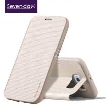 Луксозен кожен калъф Flip тефтер със стойка BREATHING за Samsung Galaxy Note 5 N920 - златен