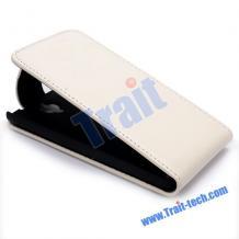 Кожен калъф Flip тефтер за Alcatel One Touch Idol X OT-6040 - бял