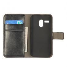 Кожен калъф Flip тефтер със стойка за Motorola Moto G X1032 - черен