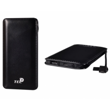 Ултра тънка универсална външна батерия Tel1 / Universal Power Bank Slim Charge Tel1 / Micro USB Data Cable 12000mAh - черна