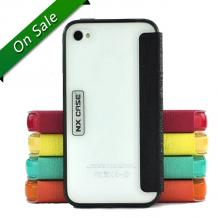 Луксозен кожен калъф Flip тефтер NX case за Apple iPhone 4 / iPhone 4S - черен