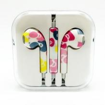 Стерео слушалки 3.5mm за смартфон - бели / цветни фигури