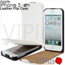 Кожен калъф тип Flip тефтер а Apple iPhone 5 / iPhone 5S / iPhone SE - White / бял /