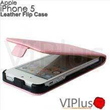 Кожен калъф тип Flip тефтер за Apple Iphone 5 / iPhone 5S / iPhone SE - розов