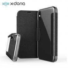 Луксозен кожен калъф Flip тефтер X-DORIA за Apple iPhone X - черен