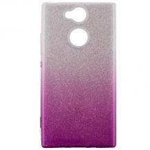 Силиконов калъф / гръб / TPU за Sony Xperia XA2 - преливащ / сребристо и лилаво / брокат