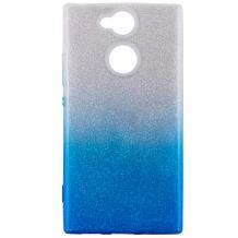 Силиконов калъф / гръб / TPU за Sony Xperia XA2 - преливащ / сребристо и синьо / брокат