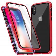 Магнитен калъф Bumper Case 360° FULL за Apple iPhone XS Max - прозрачен / червена рамка