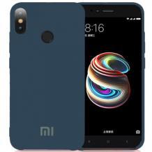 Оригинален гръб Silicone Cover за Xiaomi Mi 8 - тъмно син