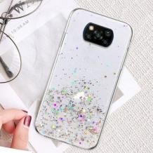 Силиконов калъф / гръб / TPU Brillant Clear Case за Xiaomi Mi 10T Lite - прозрачен / сребрист брокат