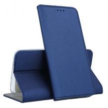 Кожен калъф Magnet Case със стойка за Huawei Y7 2019 - тъмно син