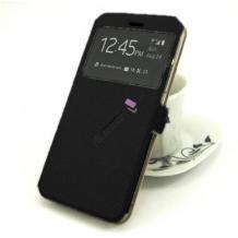 Кожен калъф Flip тефтер S-View със стойка за Huawei Y6p - черен / ромбове / Flexi