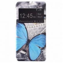 Кожен калъф Flip тефтер S-View със стойка за Huawei Y6p - сив / синя пеперуда / Flexi