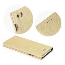 Кожен калъф Bravo Book със стойка за Apple iPhone X - златист / Flexi