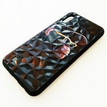 Луксозен твърд гръб 3D за Samsung Galaxy A10 - маймуна / черна призма