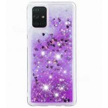 Луксозен твърд гръб 3D Water Case за Samsung Galaxy A21s - прозрачен / течен гръб с брокат / сърца / лилав
