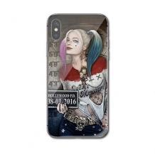 Луксозен стъклен твърд гръб за Apple iPhone XR - Poker Face Girl