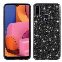 Луксозен твърд гръб за Samsung Galaxy A20s - черен / брокат