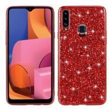 Луксозен твърд гръб за Samsung Galaxy A20s - червен / брокат