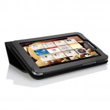 Кожен калъф за таблет 7'' Lenovo IdeaTab A2107 със стойка - черен