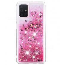 Луксозен твърд гръб 3D Water Case за Huawei Y5p - прозрачен / течен гръб с брокат / сърца / розов