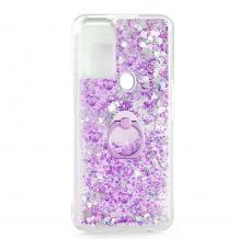 Луксозен твърд гръб 3D Water Case със стойка Ring за Samsung Galaxy A12 - прозрачен / течен гръб с брокат / сърца / лилав