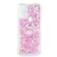 Луксозен твърд гръб 3D Water Case със стойка Ring за Samsung Galaxy A72 5G - прозрачен / течен гръб с брокат / сърца / розов