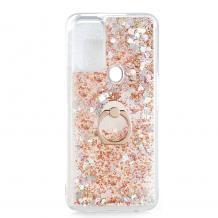 Луксозен твърд гръб 3D Water Case със стойка Ring за Samsung Galaxy A21s - прозрачен / течен гръб с брокат / сърца / златист