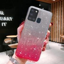 Силиконов калъф / гръб / TPU за Samsung Galaxy A21s - преливащ / сребристо и розово / брокат