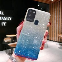 Силиконов калъф / гръб / TPU за Samsung Galaxy A21s - преливащ / сребристо и синьо / брокат