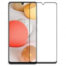 9D full cover Tempered glass screen protector за Samsung Galaxy A42 / Извит стъклен скрийн протектор за Samsung Galaxy A42 - черен