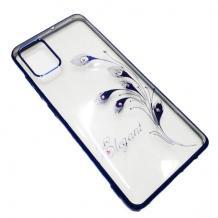 Луксозен силиконов калъф / гръб / TPU / Elegant с камъни за Samsung Galaxy A41 - прозрачен със син кант / перо