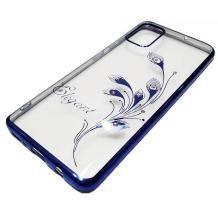 Луксозен силиконов калъф / гръб / TPU / Elegant с камъни за Huawei Y5p - прозрачен със син кант / перо