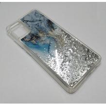 Луксозен силиконов калъф / гръб / tpu 3D Water Case за Samsung Galaxy A51 - мрамор / сребрист брокат