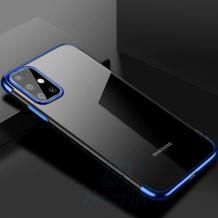 Луксозен силиконов калъф / гръб / TPU за Samsung Galaxy A71 - прозрачен / син кант