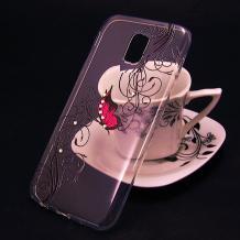 Луксозен силиконов калъф / гръб / TPU за Alcatel A3 2017 (5046Y) - прозрачен / розова пеперуда